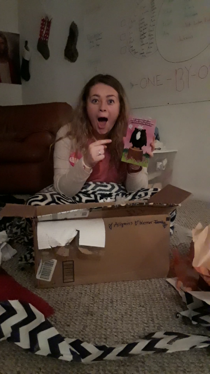 Opening the BEST card ever for my birthday
