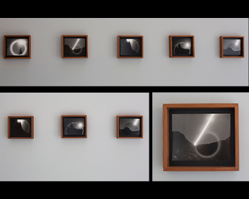 Install of Lunarscapes: handmade redwood frames at 6x7 inches