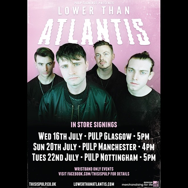 Make sure you go along to one of our @ltamusic signings while they are on tour this month! First one is in Glasgow on Wednesday! They are also going to be at Rock Collection in Norwich on the 30th at 5pm! #lta #lowerthanatlantis