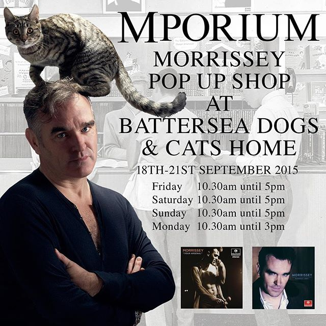 "We are running a Morrissey pop up shop with limited edition merchandise and VERY limited signed copies of ""Vauxhall & I"" and ""Your Arsenal"" 25 of each first come first serve each day. It's just the £2 donation to get in which goes to @batterseadogsandcatshome of course! Come on down #morrissey #moz #mporium #alloverbatterseasomehopeandsomedespair #alloverbattersea #mozza #hammersmithapollo #batterseadogsandcatshome #batterseadogshome #vauxhallandi #yourarsenal #meatismurder #bekindtoanimals #london"
