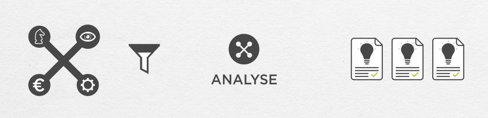 Een analyse op basis van bedrijfsstrategie en -visie alsook budget en productie vereisten.