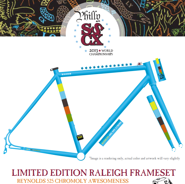 Raleigh Bicycles is up to it again, with another limited-edition SSCXWC frameset, this year in Reynolds 525 steel, disc brakes, eccentric bottom bracket and with a derailleur hanger/potential bottle opener, for the sscxwc13philly event in a few weeks.