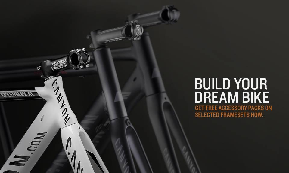 Du möchtest Dir Dein eigenes Traumbike selbst aufbauen? Jetzt ist genau der richtige Zeitpunkt dazu gekommen. Denn passend zu Deinem Frameset spendieren wir Dir ein reichhaltiges Zubehör-Set gratis. http://bit.ly/Canyon_Framese