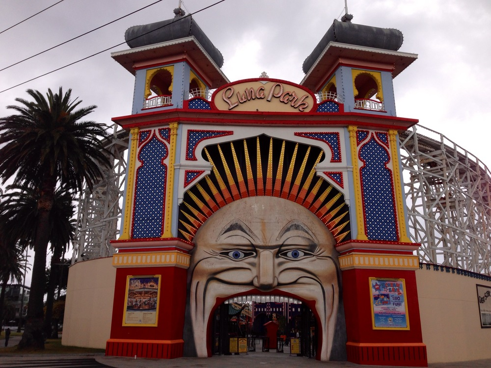 Entrance to Luna Park in St. Kilda, Melbourne, where the temperature is slightly warmer than in New York City.