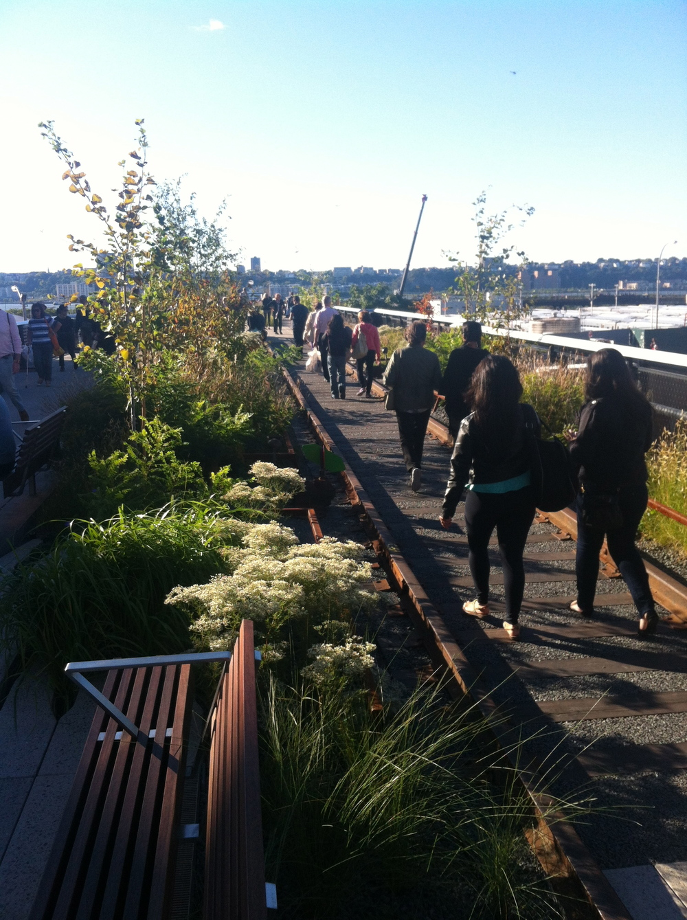 The new portion of the High Line features a minimal and sparse landscape and original railroad tracks where visitors can walk.