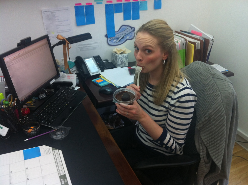 Ashley takes a quick break to celebrate  National Chocolate Mousse Day (yes, it's a real thing) .