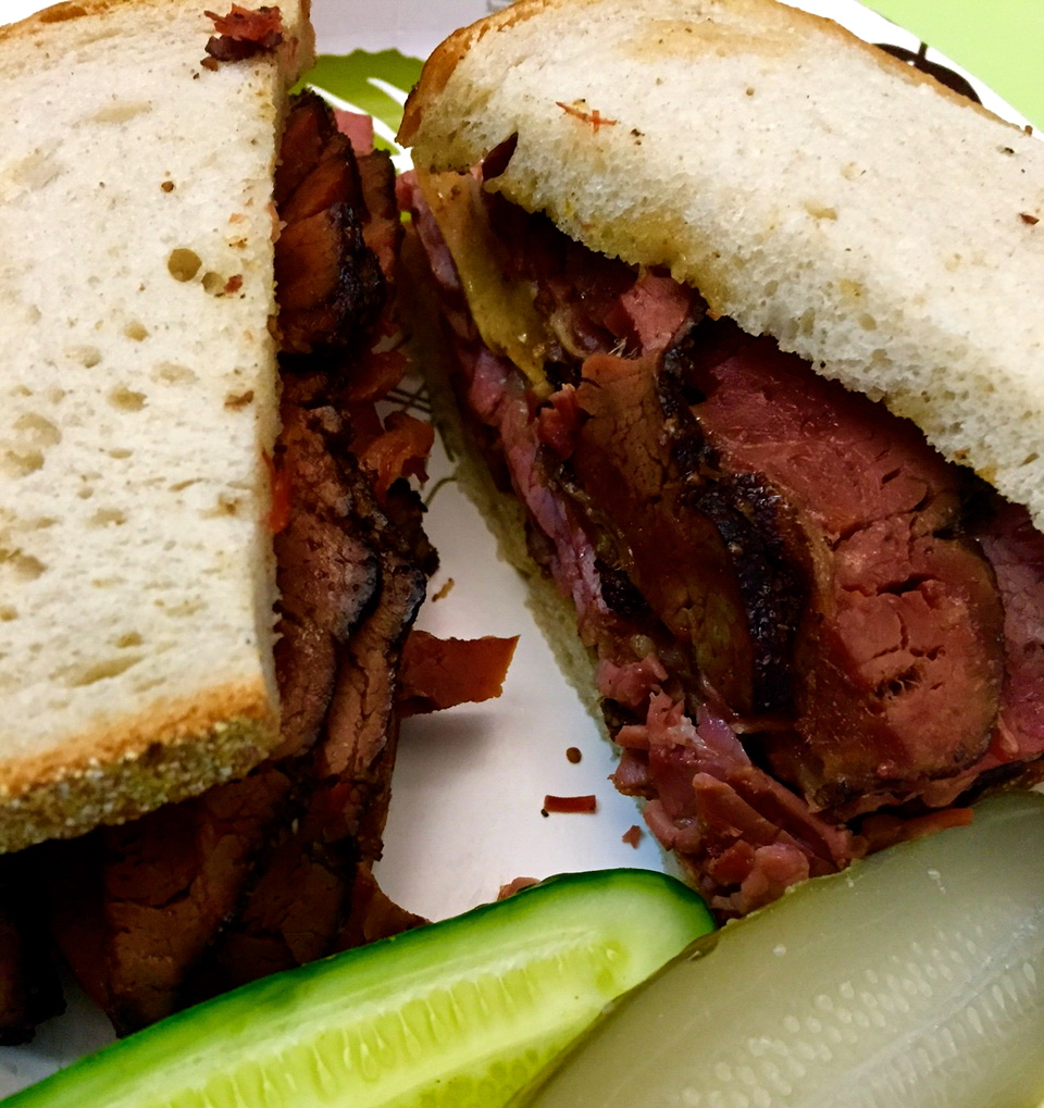Pastrami on rye with mustard and pickles from the famous  Katz's Delicatessen  in the Lower East Side.