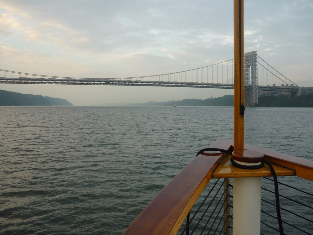 On the Hudson River looking at the George Washington Bridge.
