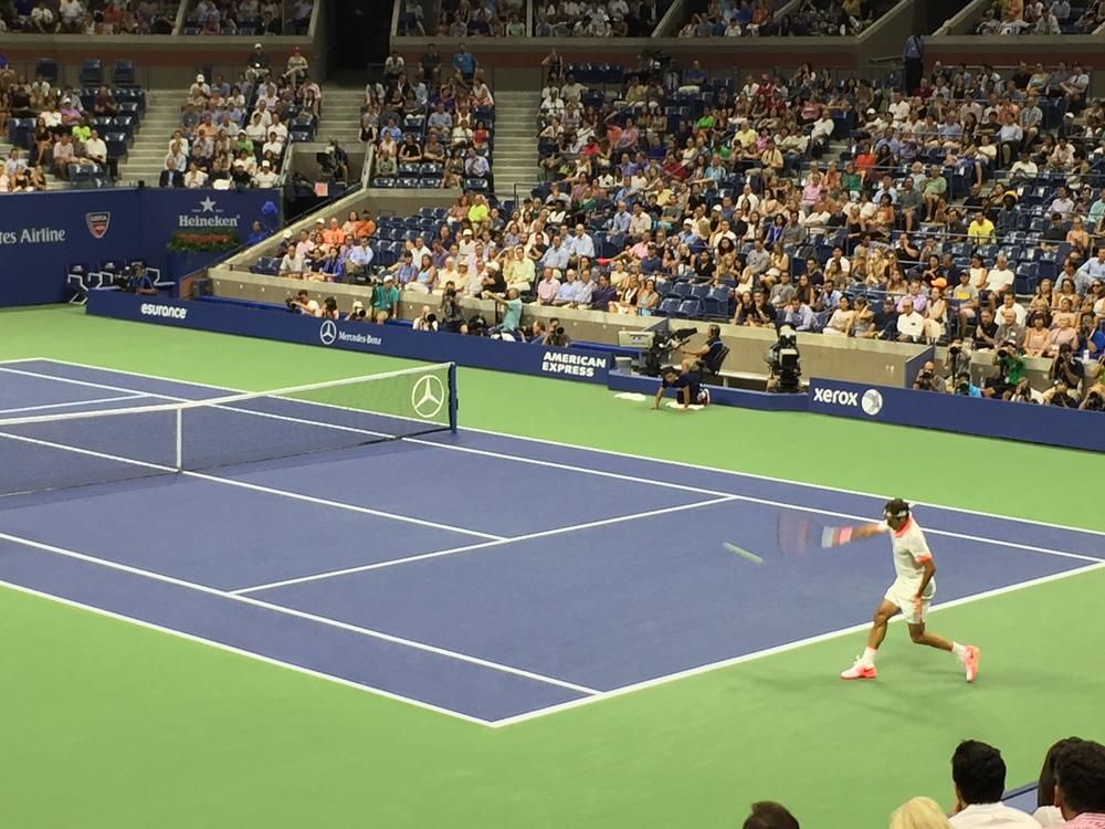 Roger Federer at Arthur Ashe Stadium.