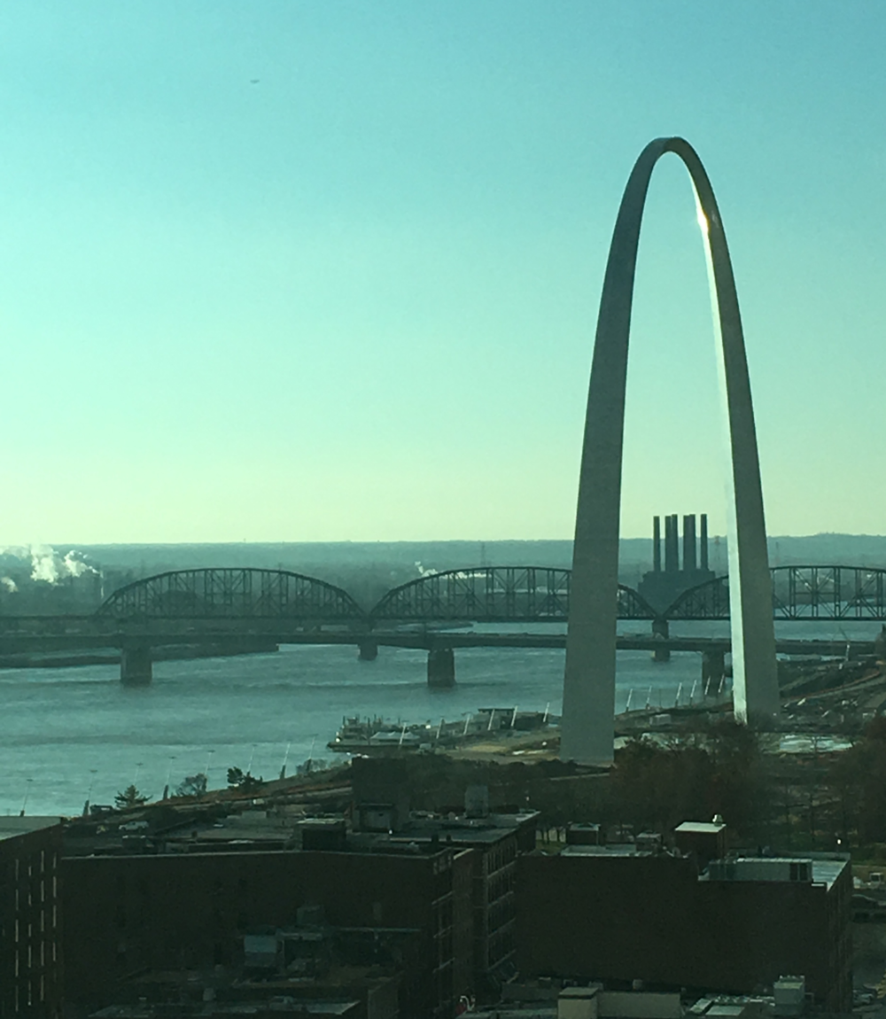 Gateway Arch overlooking Mississippi River in St. Louis.