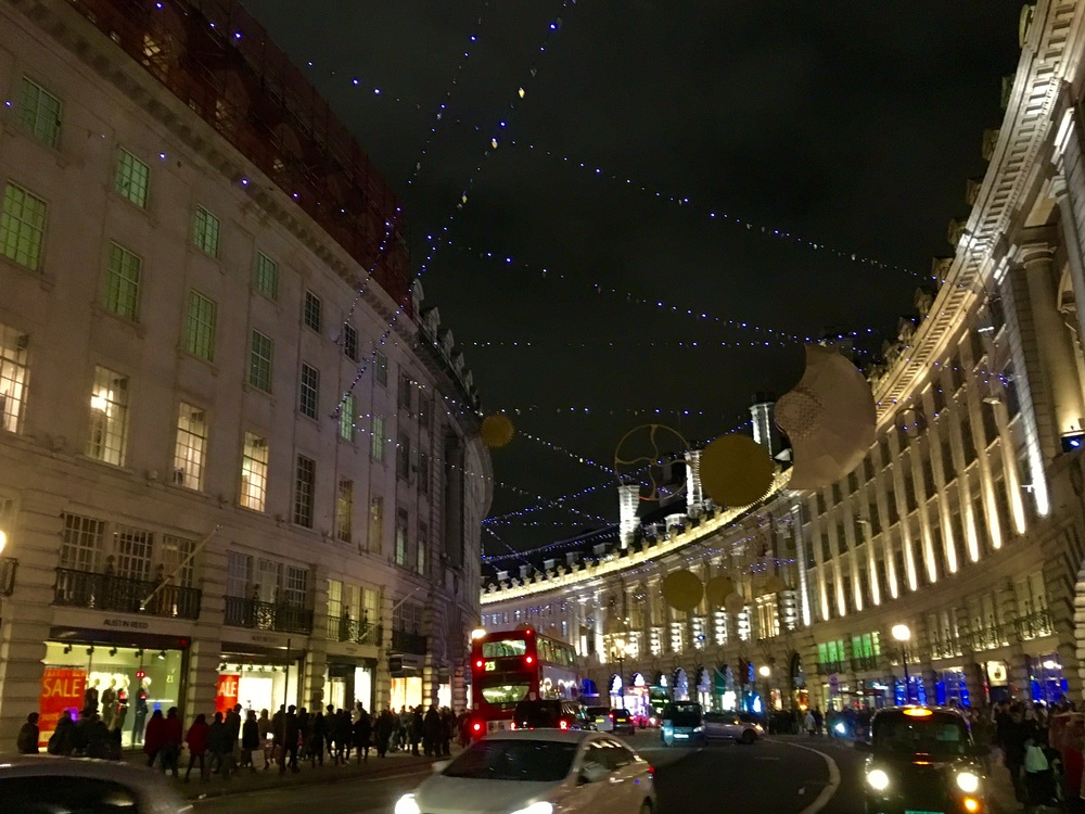 Lights on London's Regent Street, famous for its holiday decorations.