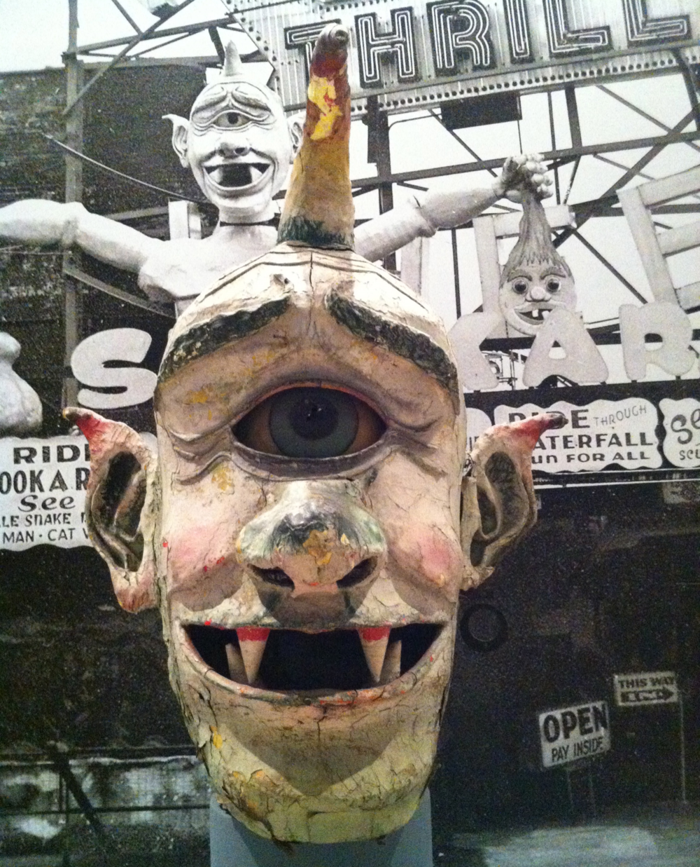 Nicknamed Cy, this sculpted Cyclops head hung above the Spook-A-Rama in the 1950s in Coney Island.