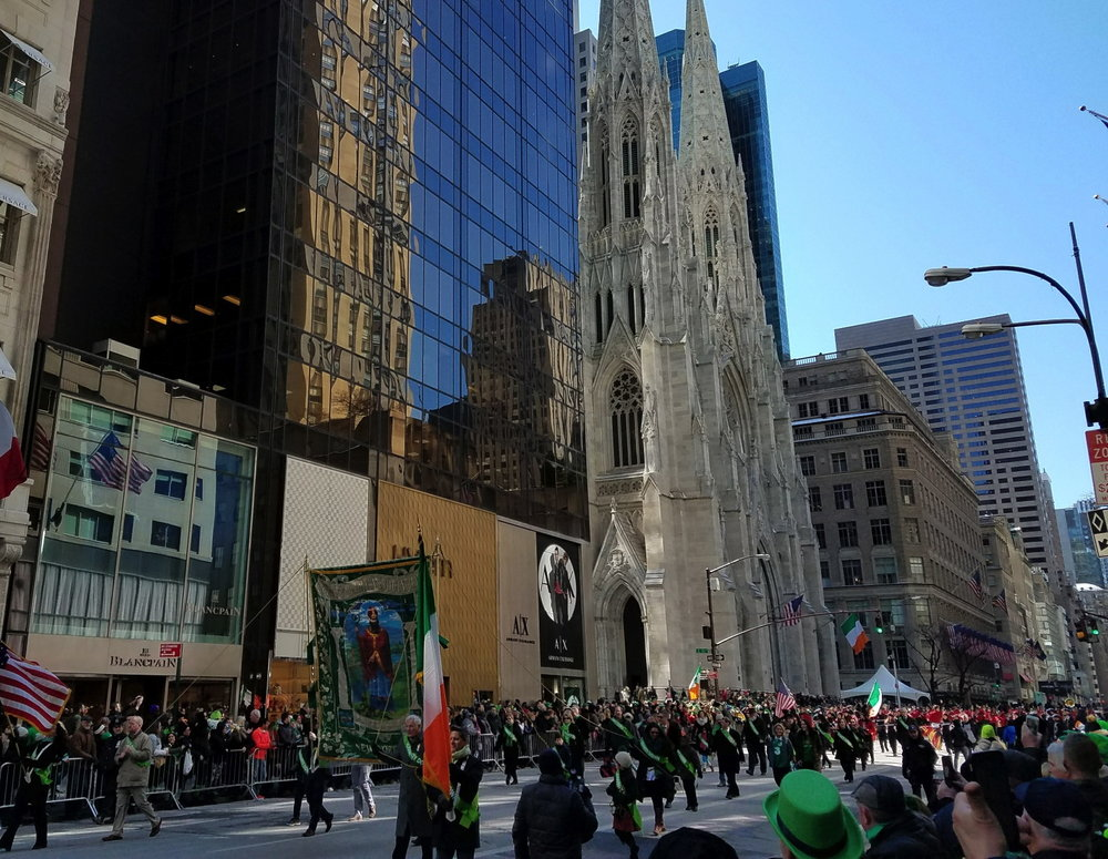 The St. Patrick's Day Parade on 5th Avenue in New York City.