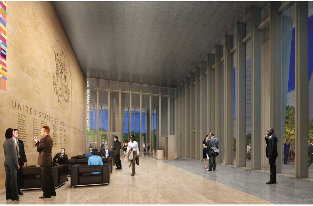 Lobby. Photo from  US Embassy London . Copyright KieranTimberlake.