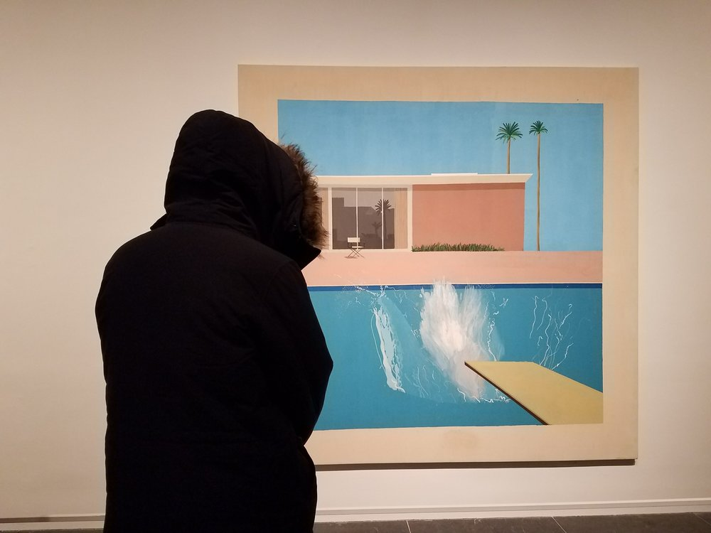 Joseph gazing longingly at the southern California pool in  A Bigger Splash  by David Hockney.