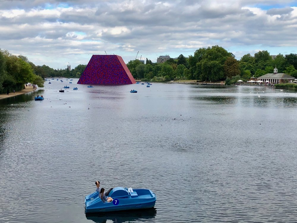 The London Mastaba  on Serpentine Lake in Hyde Park .