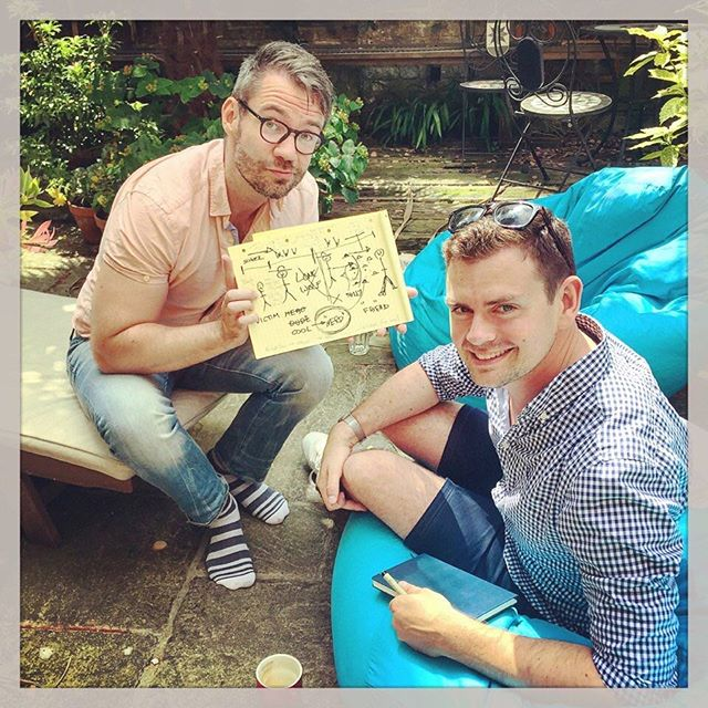 That time when we storylined Billy The Kid in the garden with @kategolledge and @darragholeary. The best work is done on bean bags... #musicaltheatre #hardwork #gardenoffice #goodtimes