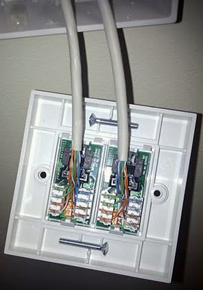Rear of a Newlec cat 5 socket
