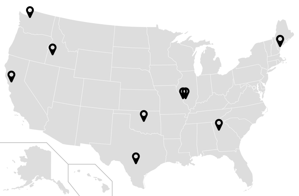 Map of all Four Nines' Implementation Oversight projects