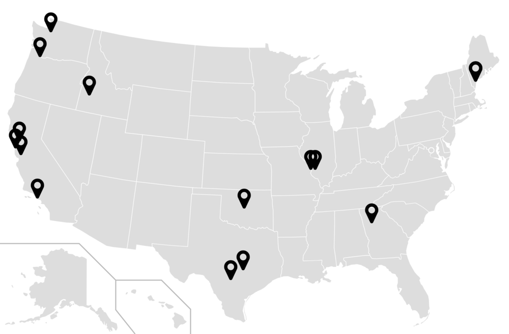 Map of all Four Nines' Enterprise System Selection projects