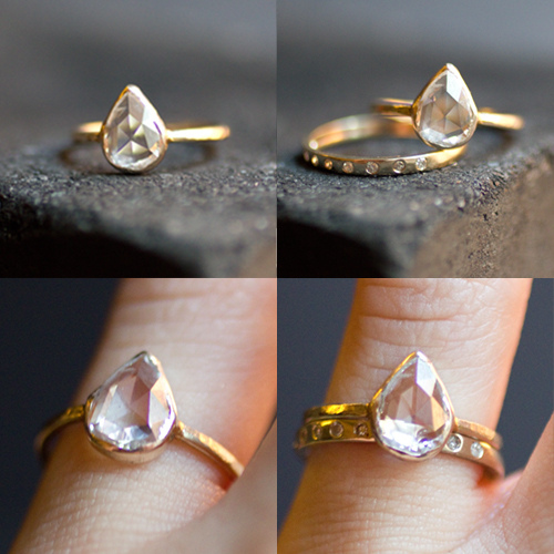 1.6 vvs carat Pear shaped rose cut diamond set in 14k Pale yellow fold with a hint of pink.
