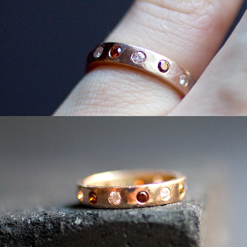 "Custom color rose gold 14k. With alternating 7 white and 7 red orange diamonds flush set.   ""Most beautiful ring I've ever seen! Great gold color and stones are amazing! Fits perfectly and is so sparkly. Great contact with artist and constant communication. So excited!!!!"""