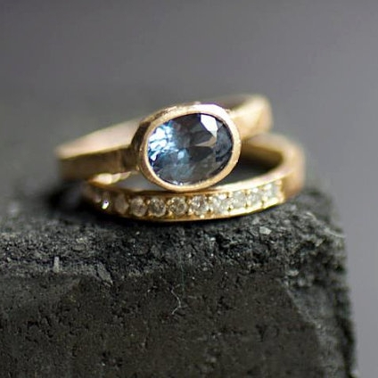 "1.41 carat blue spinel set in 14kt yellow gold and matching diamonds band   ""So beautiful! Petite and diamonds with such a great color!"""