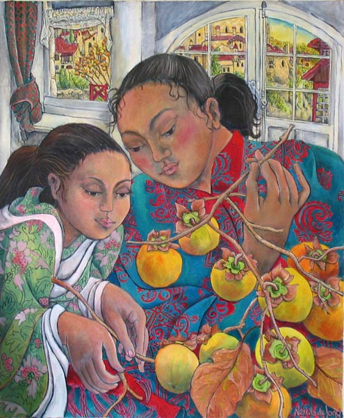 """Girls with Persimmons"""
