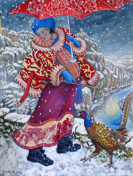 """Walking in the Snow with a Pheasant"""