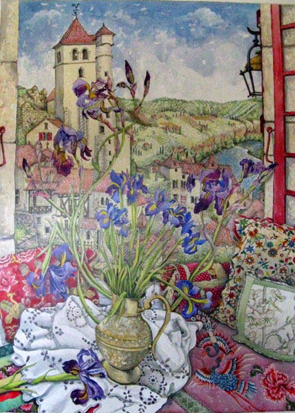 """Iris and St Cirq Lapopie"""