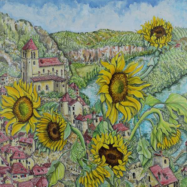 """Sunflowers in St Cirq Lapopie"""