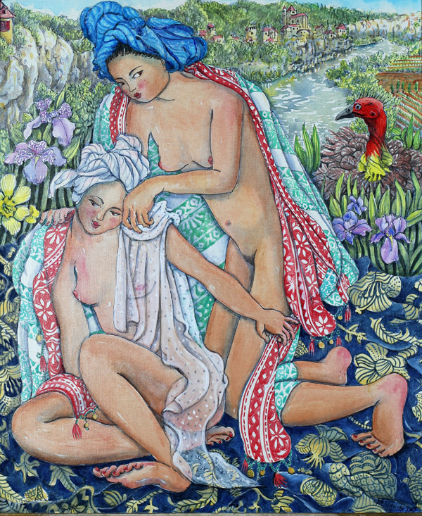 """Sisters Bathing with Bush Turkey watching"""