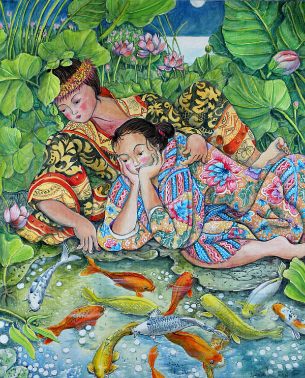 """Girls with Koi """