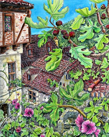 Figs and Flowers, summertime in the Village