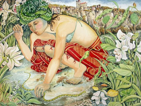 """Girl catching water snake"""