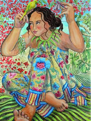 """Girl with bird under the Flame tree"""