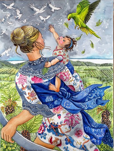 """Mother baby reaching for the Birds"""