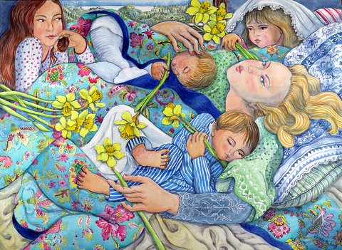 """Mother trying to rest with her four children and Daffodils"""
