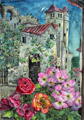 """Roses in night in St Cirq"""
