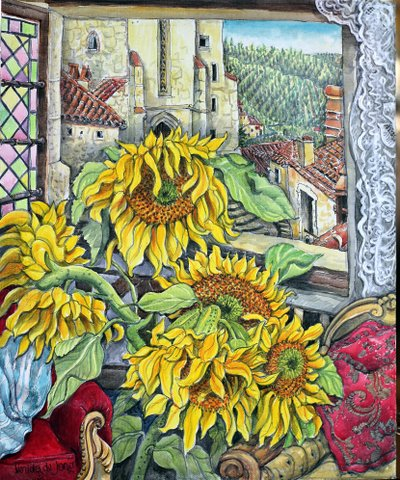 """Sunflowers by the window"""