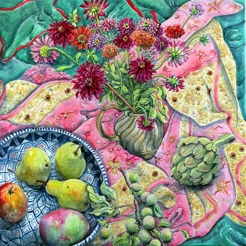 """Still Life with Artichoke, Flowers and Fruit"""