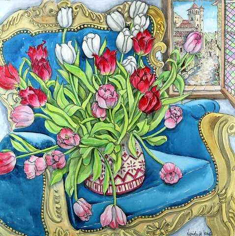 """Tulips on Blue Chair"""