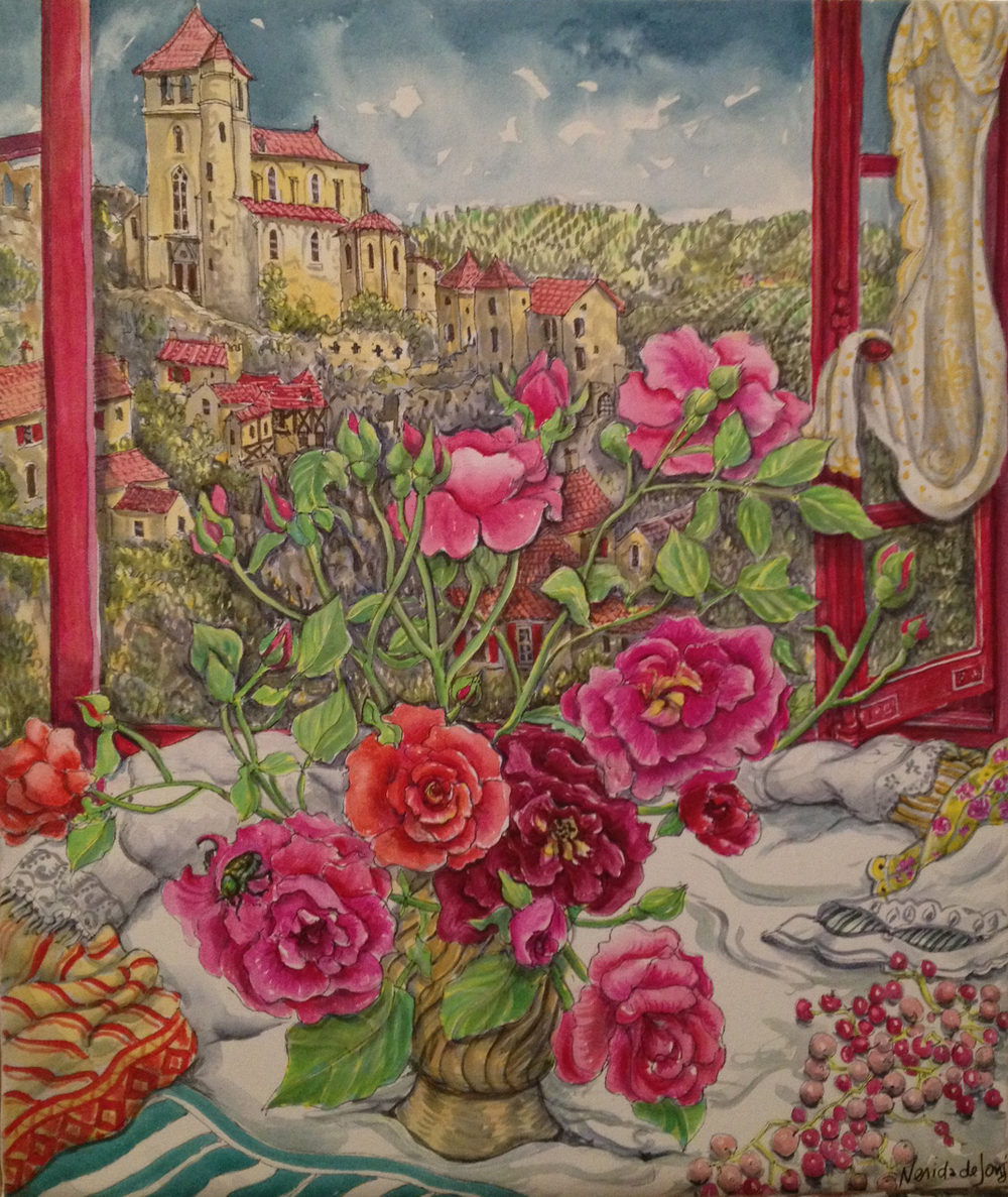 """Roses in front of window, St Cirq Lapopie"""