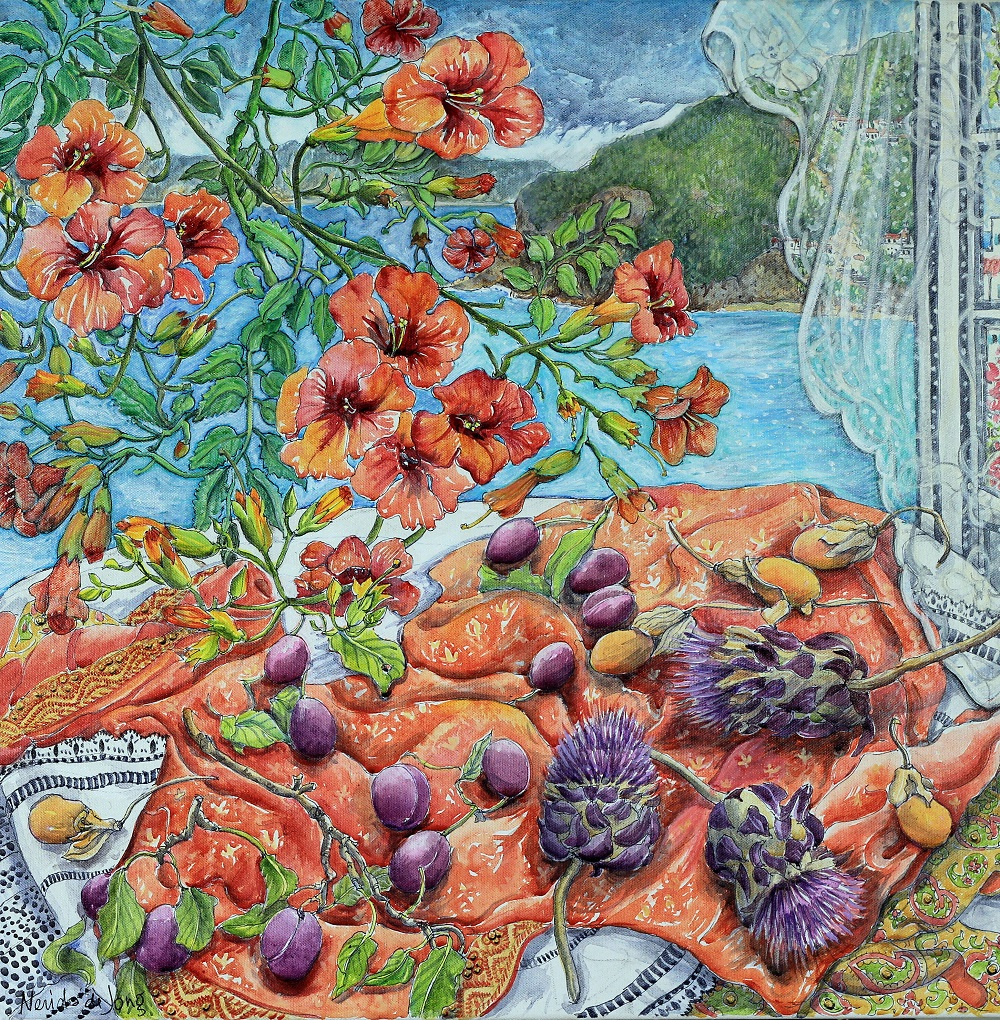 Still Life with plums and artichoke flowers