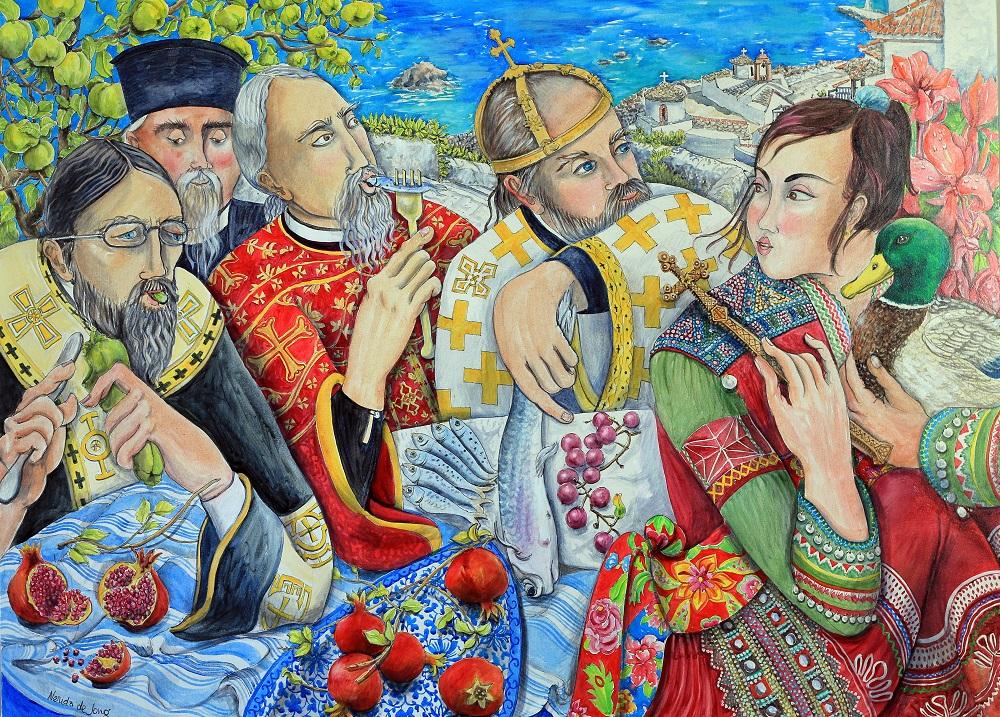 4 Священники, Девушка и утки