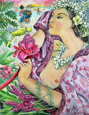Девушка с цветком в Имбирь Лагуны
