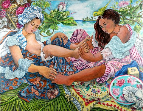 Foot Massage; 2 girls by the lagoon with a bird