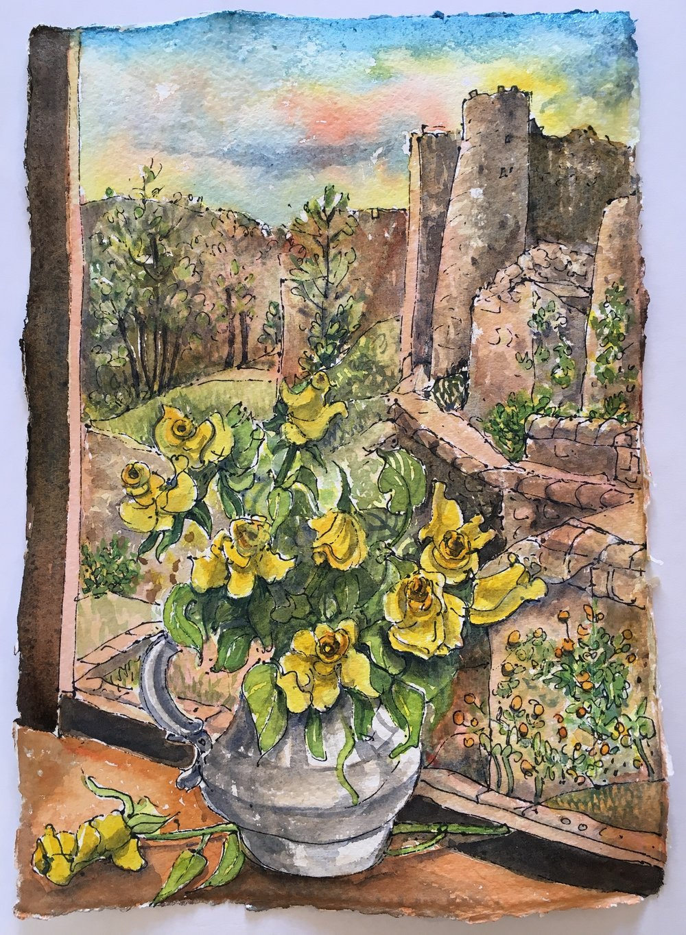 Yellow Roses at the window