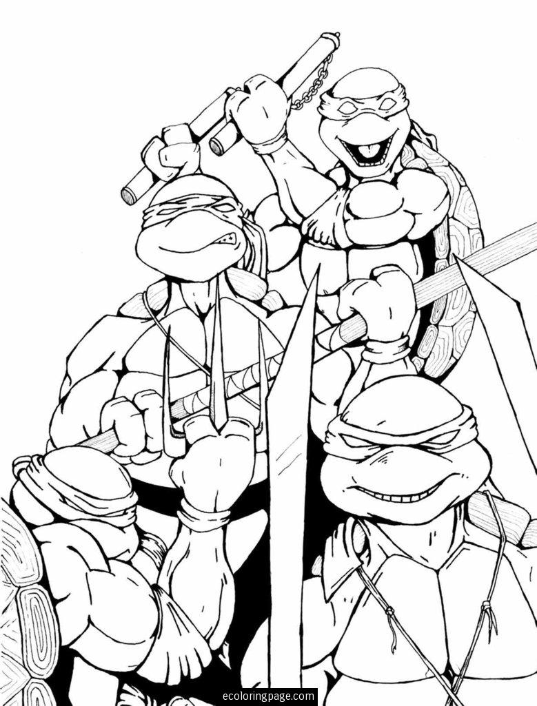 TMNT Group Colouring Page