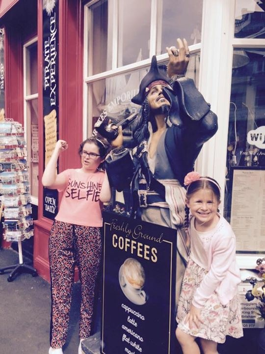 My daughter and my sister outside the pirate museum, a great local history in a beautiful place.